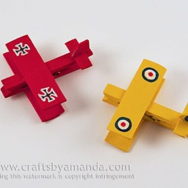 Clothespin Airplanes: Snoopy and the Red Baron by Amanda Formaro of Crafts by Amanda