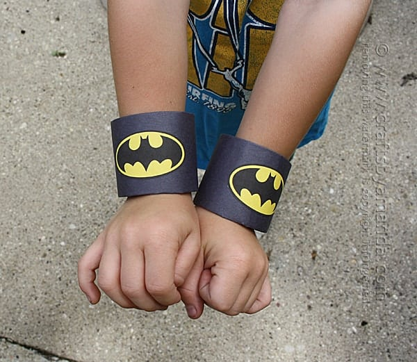 Batman Craft: Cardboard Tube Wrist Cuffs by Amanda Formaro of Crafts by Amanda