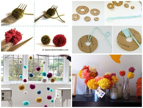 yarn pom poms collage