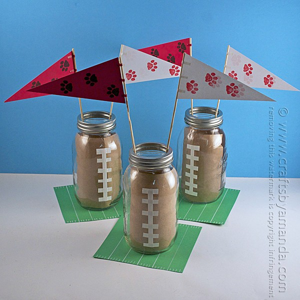 Super easy DIY Football Centerpieces. Perfect for a football banquet or game day get together!