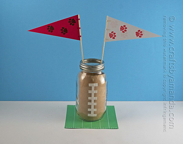 mason jar football centerpieces with flags