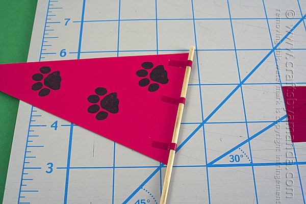 paw prints on flag