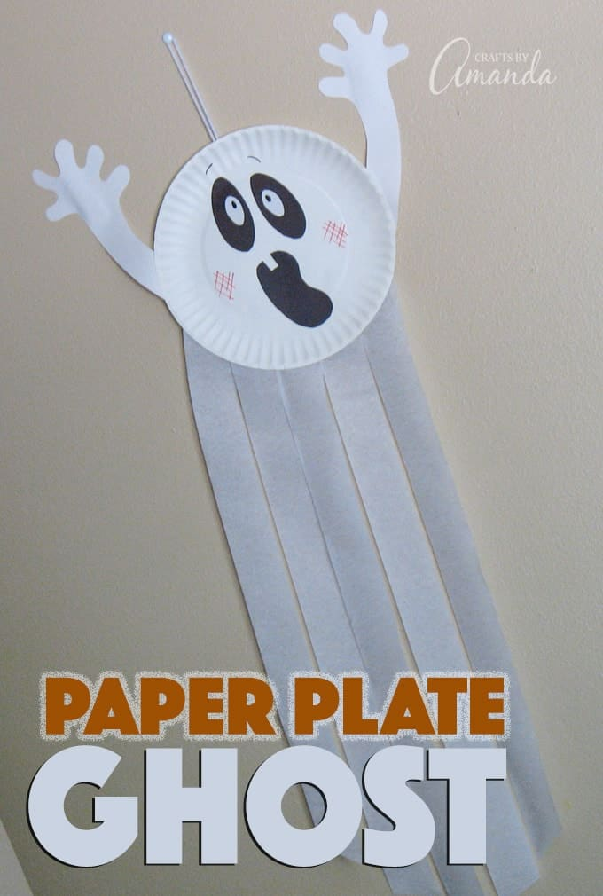 paper plate ghost halloween craft