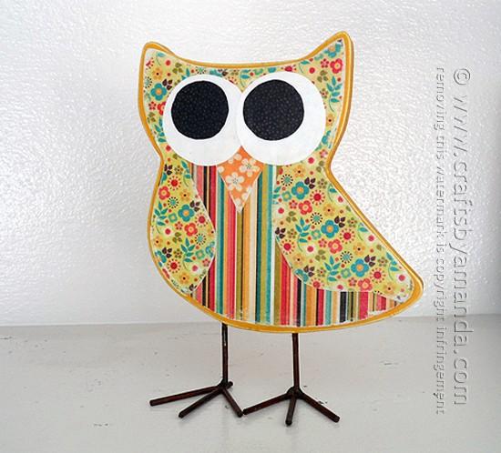 Owl Craft: Scrapbook Paper Decoupage by Amanda Formaro of Crafts by Amanda