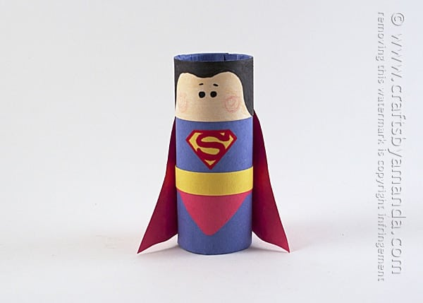 Cardboard Tube Superman Craft by Amanda Formaro of Crafts by Amanda