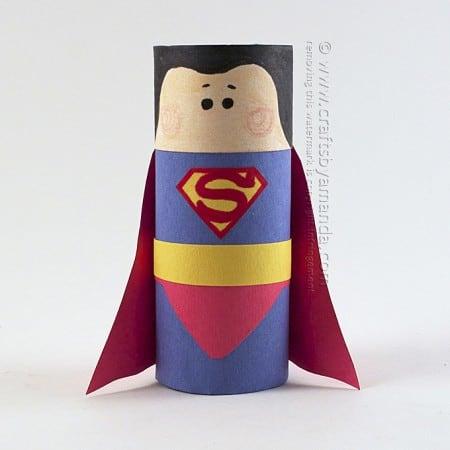 Cardboard Tube Superman Craft by Amanda Formaro of Crafts by Amanda