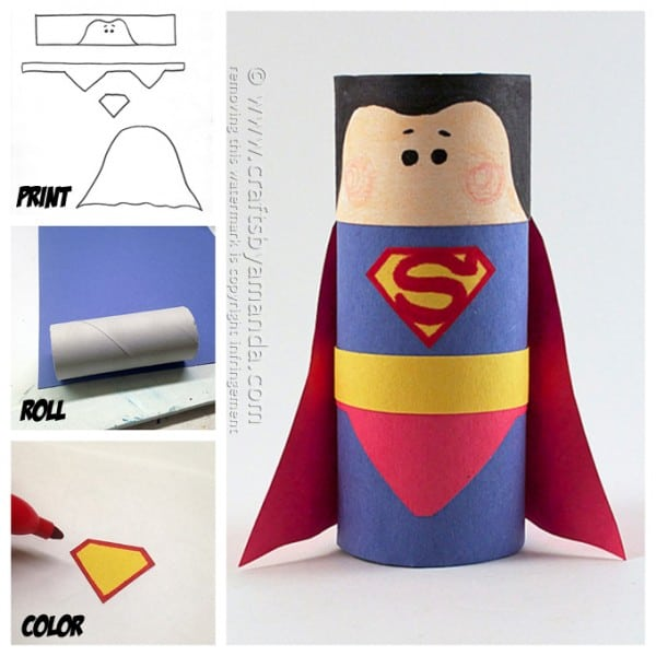 Cardboard tube superman craft crafts by amanda for Cool things to make out of recycled materials