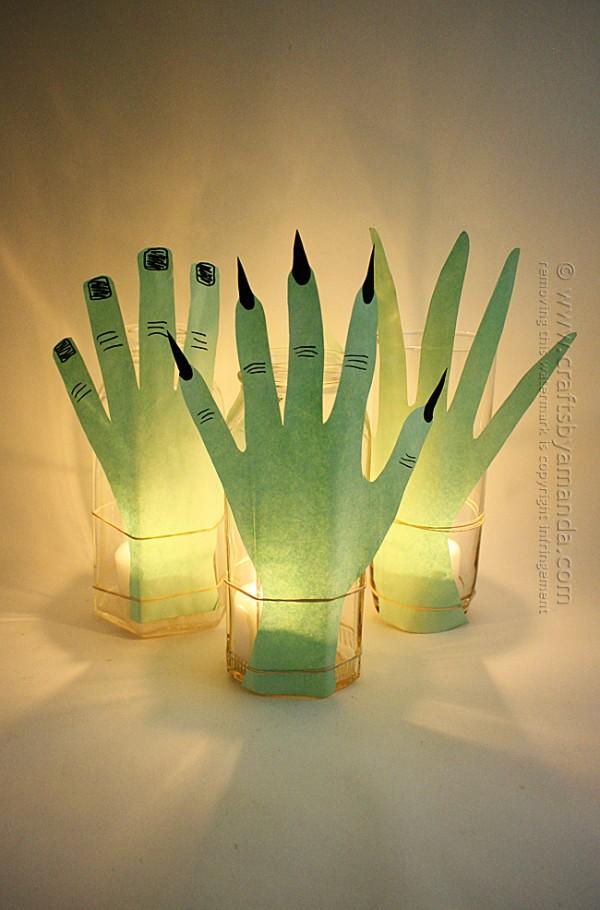 Luminares mão assustador para o Dia das Bruxas por Amanda Formaro de Artesanato por Amanda