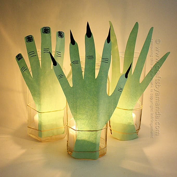 Creepy Hand Luminaries for Halloween by Amanda Formaro of Crafts by Amanda