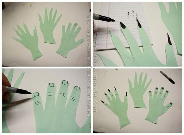 Creepy Hand Luminaries for Halloween by Amanda Formaro of Crafts by Amanda