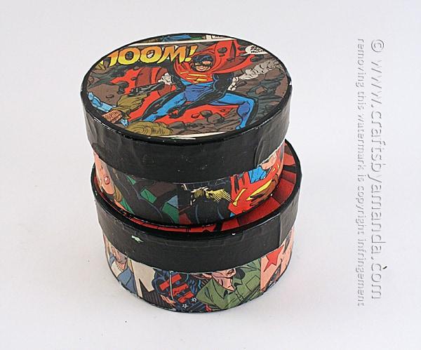 Comic Book Crafts: Superman & Batman Boxes by Amanda Formaro of Crafts by Amanda
