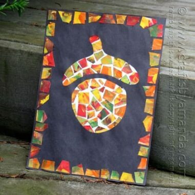 Patchwork Mosaic Paper Acorn by Amanda Formaro of Crafts by Amanda
