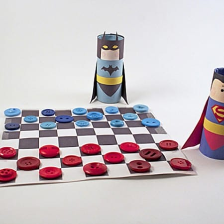Paper Weaving: Batman vs Superman Checkers by Amanda Formaro of Crafts by Amanda