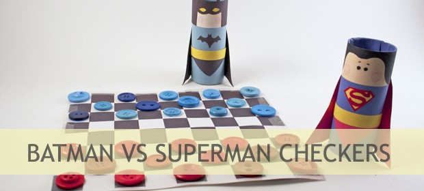 Paper Weaving: Batman vs Superman Checkers