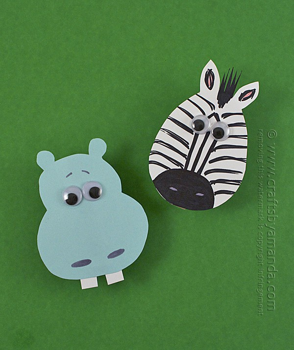 Zoo Crafts: Clothespin Hippo and Zebra Magnets by Amanda Formaro of Crafts by Amanda