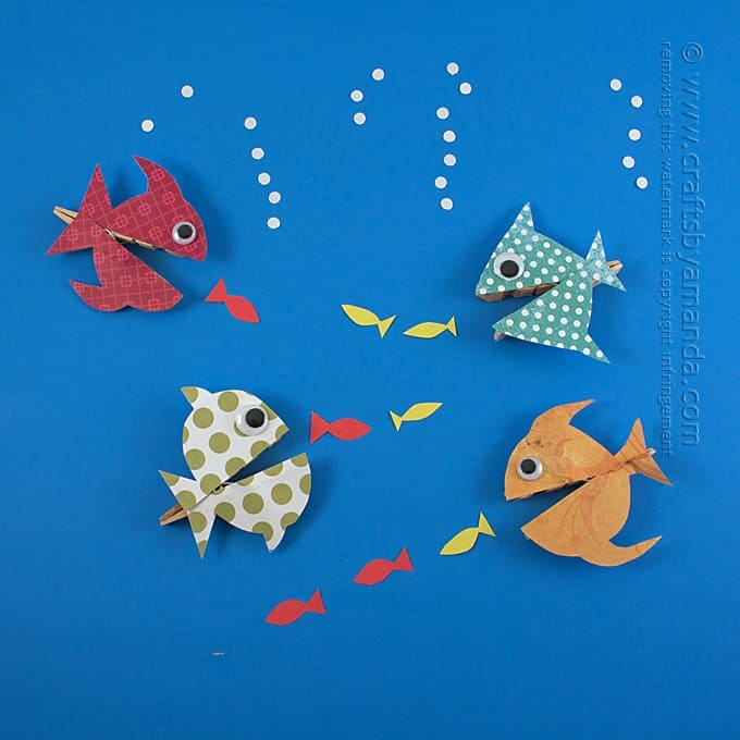 colorful fish made out of clothespins