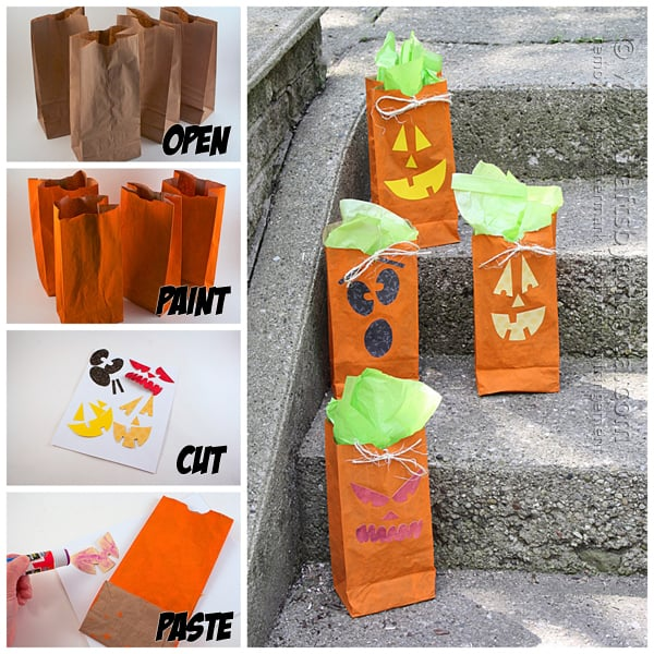 How to make jack o lantern treat bags