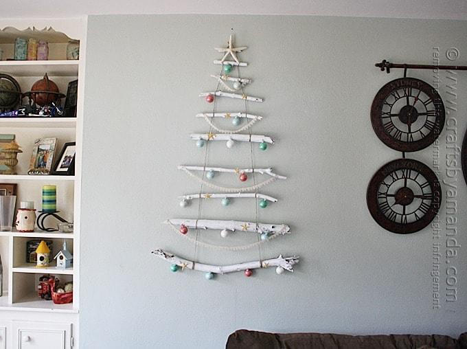 coastal christmas tree wall decor