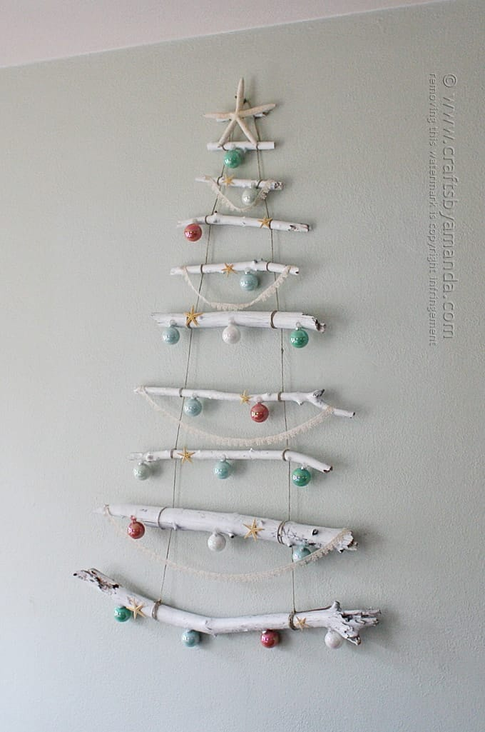 christmas coastal branch tree on wall