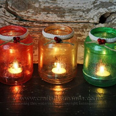 Glitter Christmas Tree Luminaries by Amanda Formaro, Crafts by Amanda
