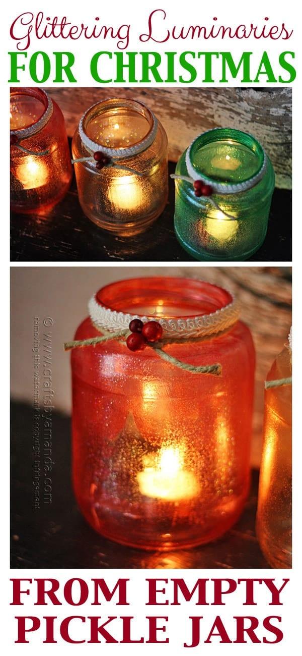 Glitter Christmas Tree Luminaries by Amanda Formaro, Crafts by Amanda