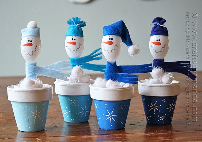 Spoon Snowmen in Clay Pots by Amanda Formaro of Crafts by Amanda