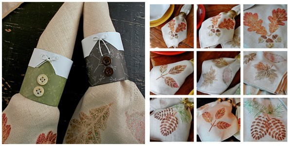Adult Crafts: Pilgrim napkin Rings and Glittered Cloth Napkins by Amanda Formaro of Crafts by Amanda