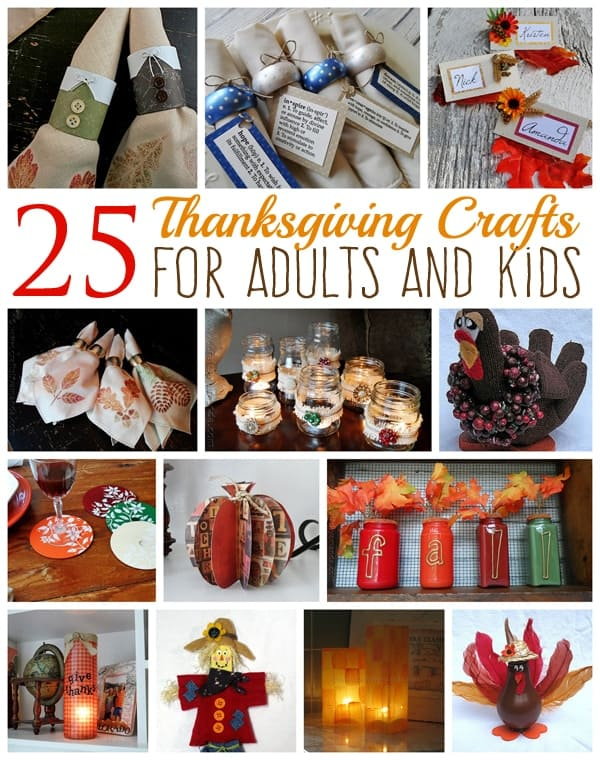 collage of Thanksgiving crafts for adults and kids