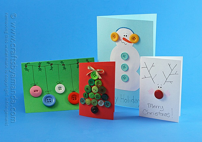 Homemade Button Cards for Christmas by Amanda Formaro, Crafts by Amanda