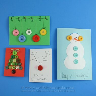 Homemade Button Christmas Cards by Amanda Formaro, Crafts by Amanda