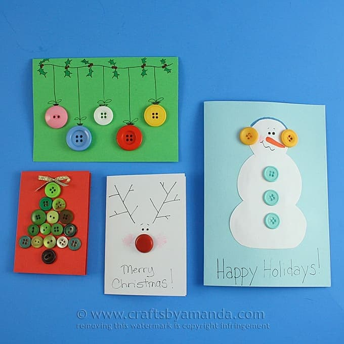 Homemade Button Cards For Christmas