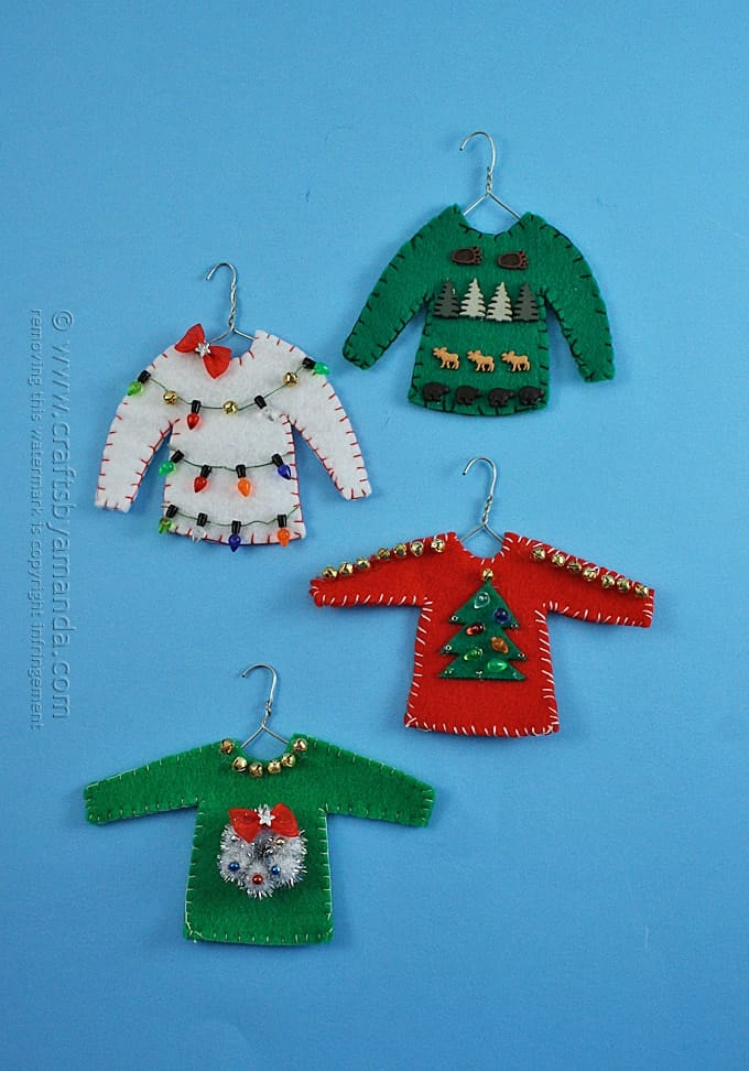 Ugly Sweater Christmas Ornaments by Amanda Formaro of Crafts by Amanda