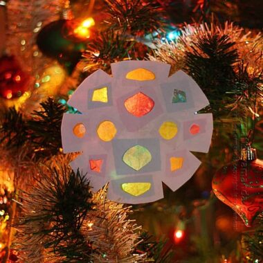 Faux Stained Glass Paper Snowflakes by Amanda Formaro of Crafts by Amanda