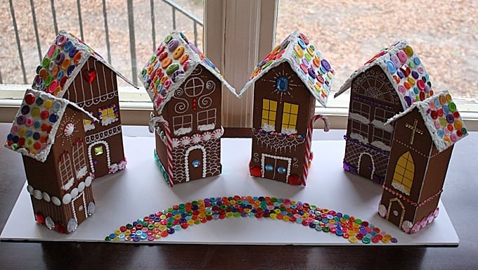 Recycled Village of Gingerbread Houses - Crafts by Amanda on candy box, fireplace box, halloween box, biscotti box, tiramisu box, pig roast box, butterfly box, text box, cookie dough box, gumbo box, ornament box, church box, brownies box, panettone box, giveaway box, icing box, ginger box, cupcake house box, fudge box, rose box,