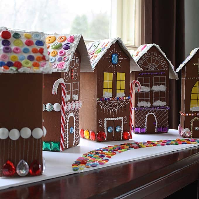 Recycled Village of Gingerbread Houses - Crafts by Amanda on gingerbread roof designs, art designs, valentine's day designs, gingerbread architectural designs, mother's day designs, cupcakes designs, bread designs, gift designs, little houses designs, cobblestone driveway designs, pumpkin designs, gingerbread porch designs, gumball machine designs, gingerbread castle designs, vanilla house designs, upscale club designs, christmas designs, dessert designs, elf designs, chicken designs,
