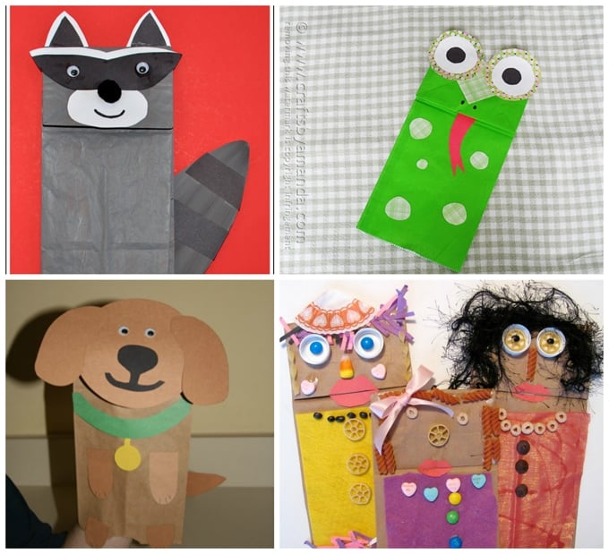 Kids animal puppets collage made from paper bags