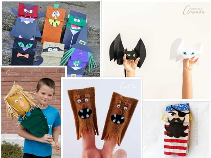 collage of DIY kids puppets