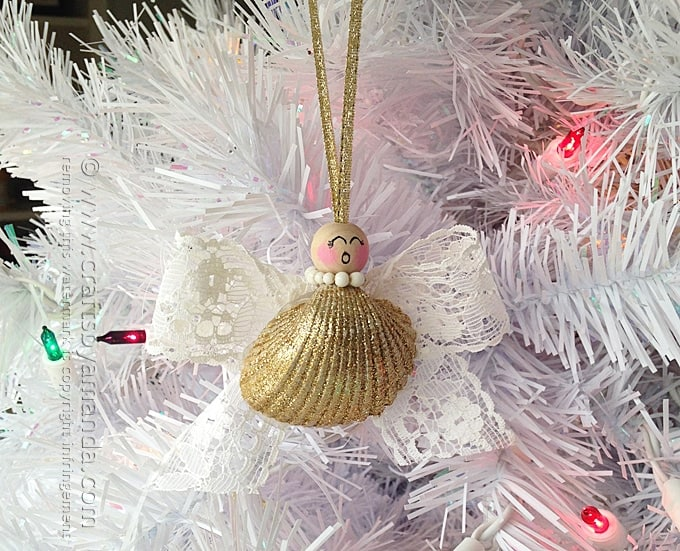 Seashell angel ornament crafts by amanda for Seashell crafts for adults
