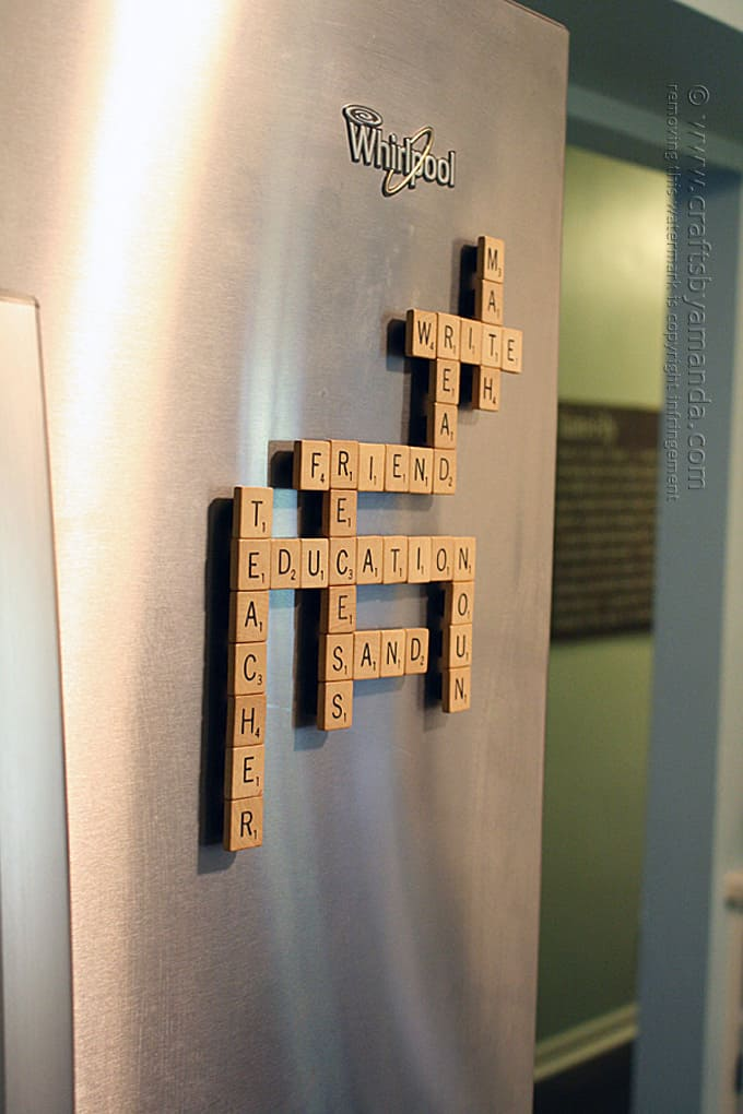 scrabble game made into magnets