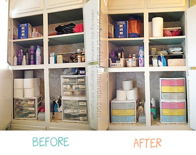 Before and after collage of bathroom organization