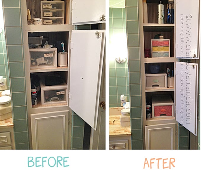 before and after photo of bathroom storage cabinet