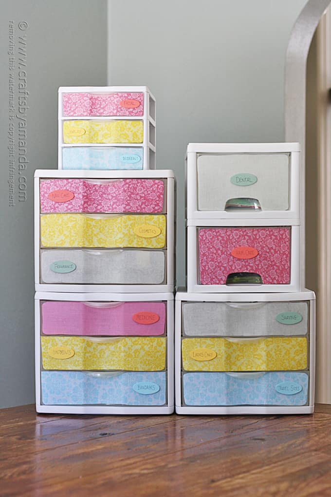 plastic storage drawers with fabric and labels