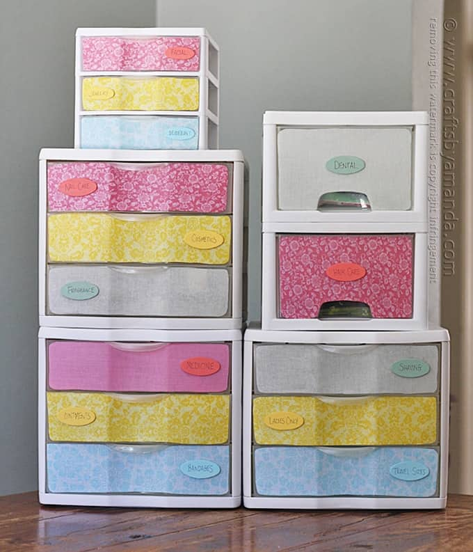 Colorful plastic storage drawers makeover
