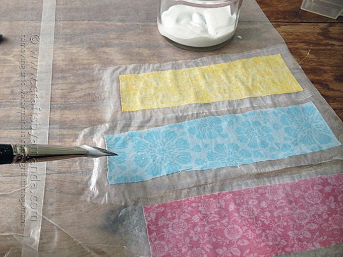prep fabric with decoupage on wax paper