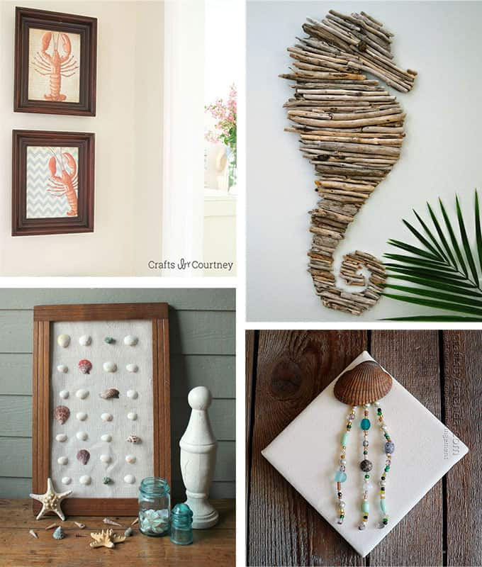 Arts And Crafts Wall Decor Ideas : Beach crafts coastal diy wall art