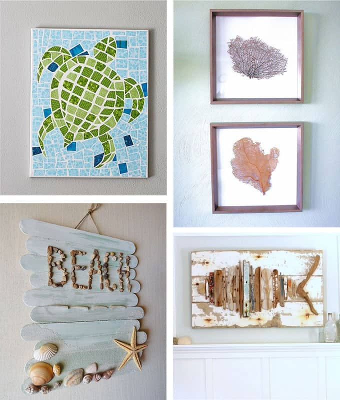 Beach Coastal Wall Decor : Beach crafts coastal diy wall art