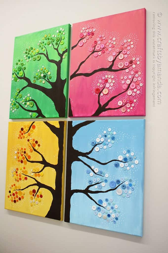 Wall art button tree