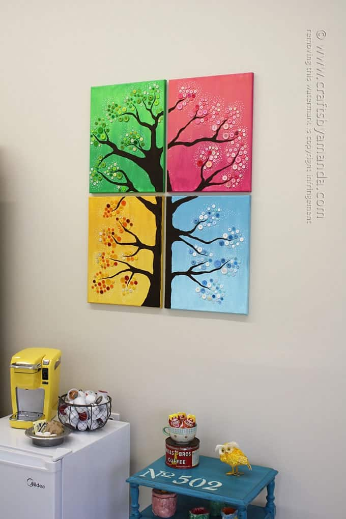 4 Seasons Button Tree on wall