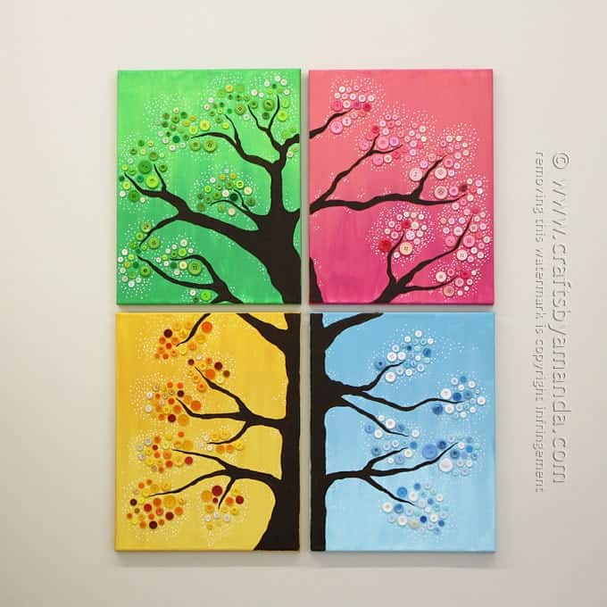 Button tree wall art 4 seasons colorful button tree for 4 seasons decoration