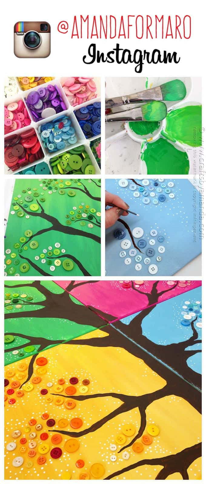 button tree and supplies collage